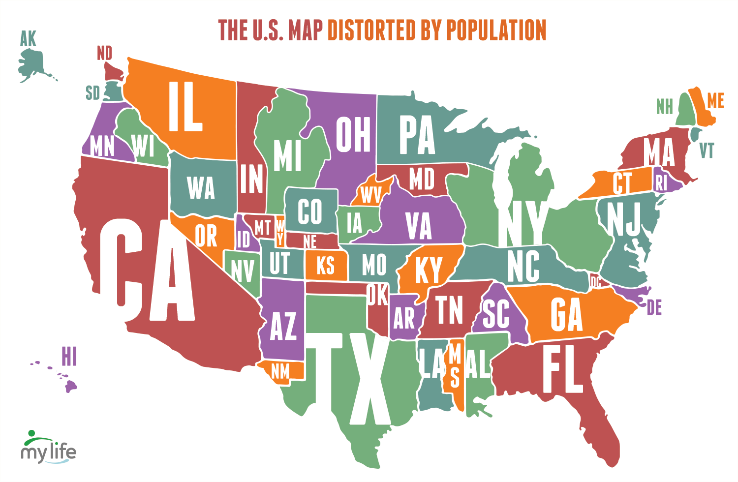 Map Of The United States Distorted By Population - Maps of the us states