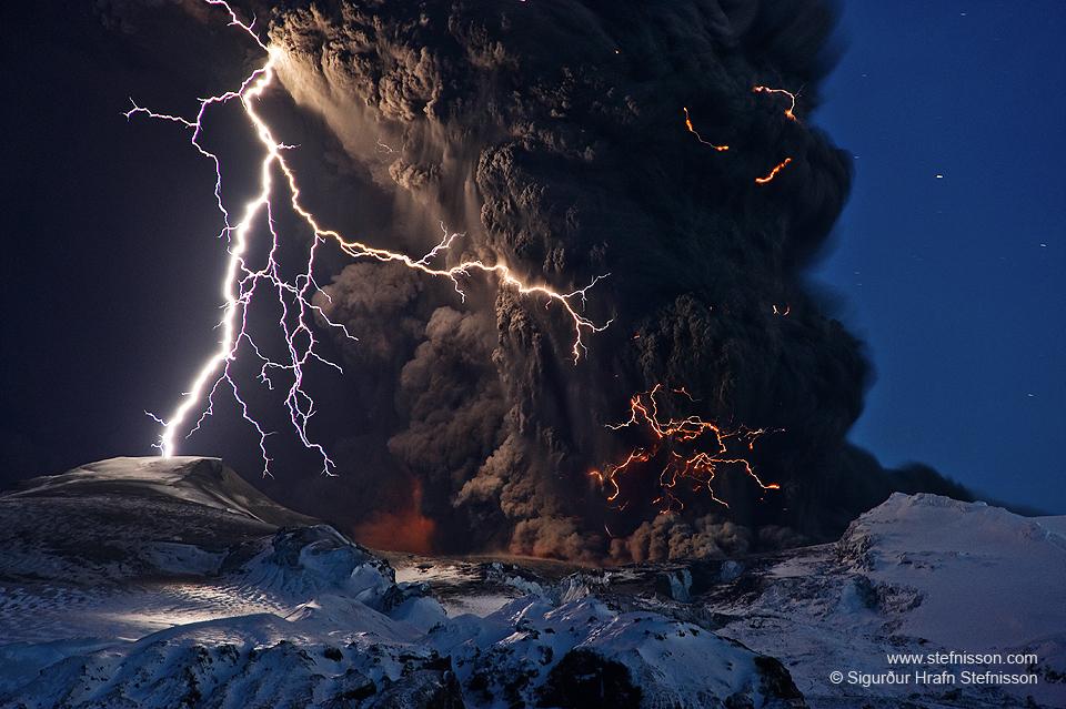Ash and Lightning Photo by Sigurdur Stefnisson