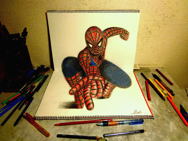 3d Drawing On Lined Paper : D illusion drawings by nagai hideyuki