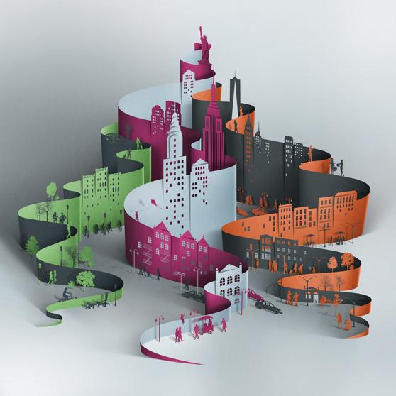 Paper Cut-Style Digital Illustrations by Eiko Ojala