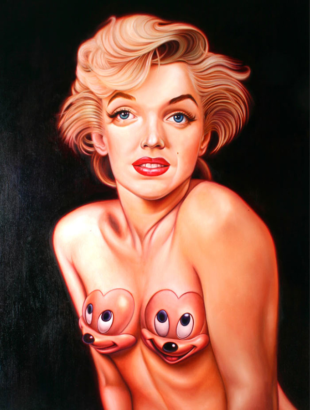 Big Eye Marilyn With Mickeys by Ron English