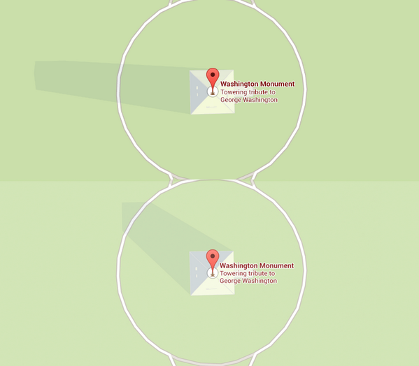 The Washington Monument's Shadow Moves Throughout the Day on Google Maps
