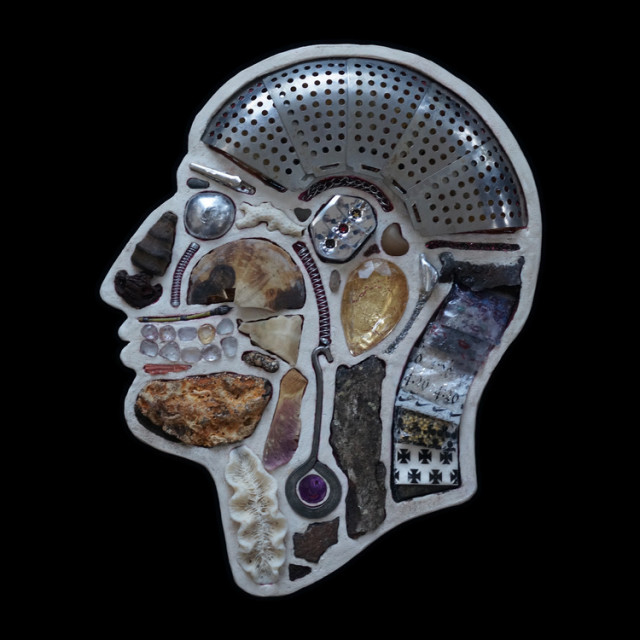 Human Head Cross Sections Made out of Found Objects