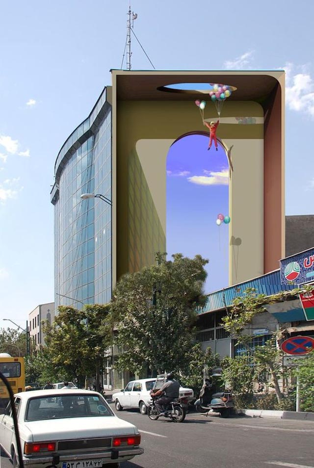 Delightfully Surreal Tehran Building Murals by Mehdi Ghadyanloov