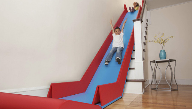 Attractive SlideRider Is A Collapsible Slide That Turns Ordinary Household Stairs Into  An Extraordinary Indoor Slide For Kids. The Slide Features Bumpers To Keep  ...