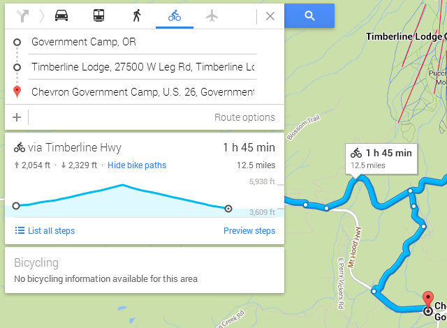 Google Adds Elevation Data To Bicycling Routes On Google Maps - Elevation data google maps