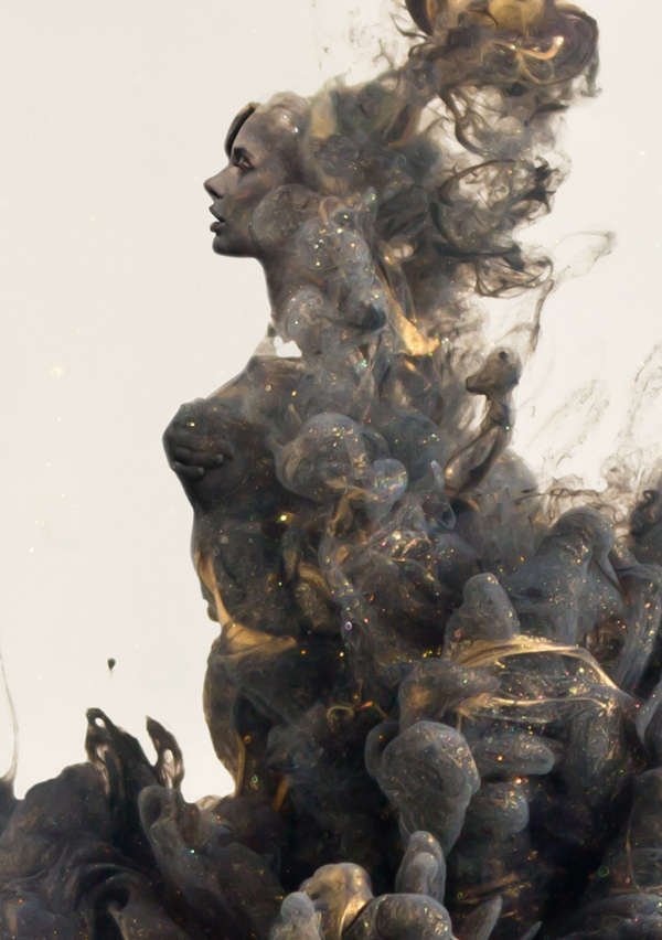 Digital Illustrations of Human Figures Emerging from Clouds of Paint