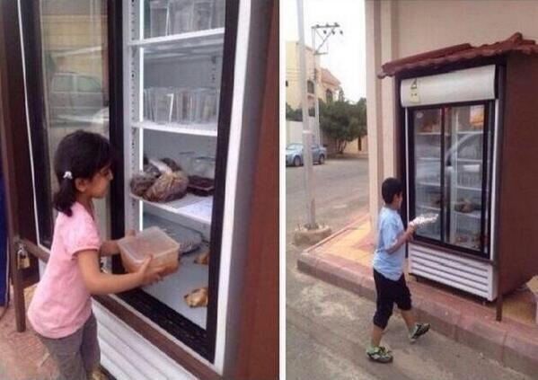 Saudi Man Installs Charity Fridge in Front of His House
