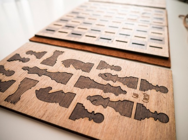 Laser Cut Wooden Chess Set Flattens When Not in Use