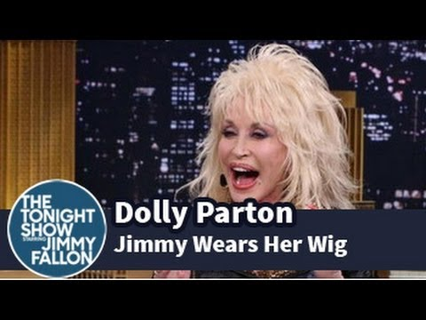 Jimmy Fallon Tries On One of Dolly Parton's Wigs