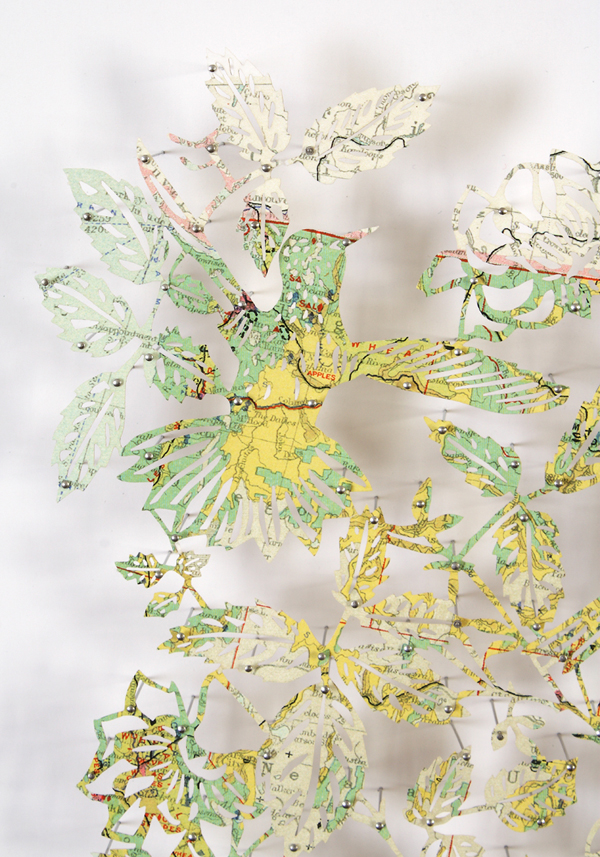 Nature Art Made from Cut Maps by Claire Brewster