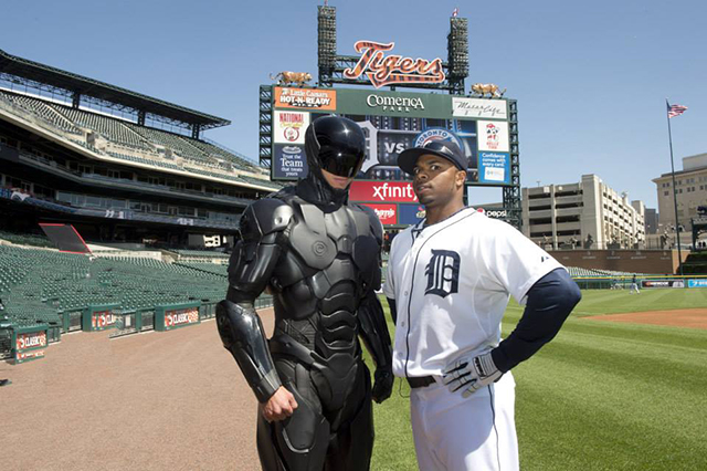 RoboCop Throws the first pitch in Detroit