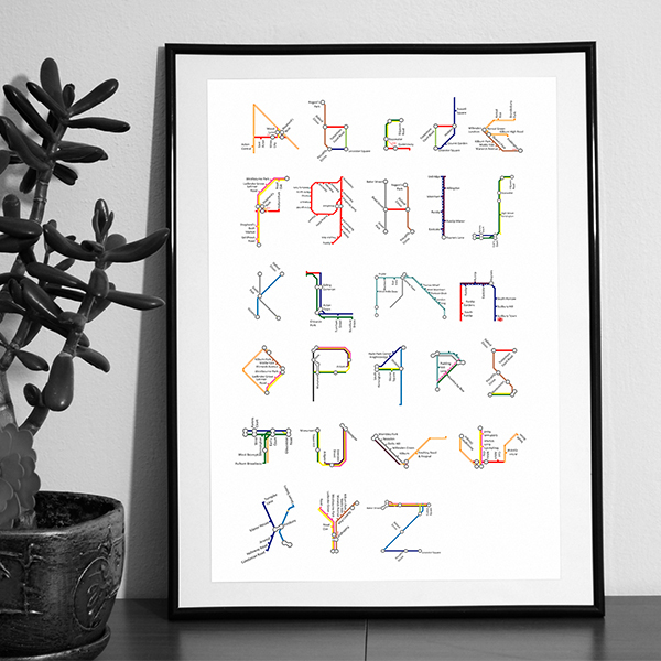 Subway Map Alphabets by Pauline Detavernier