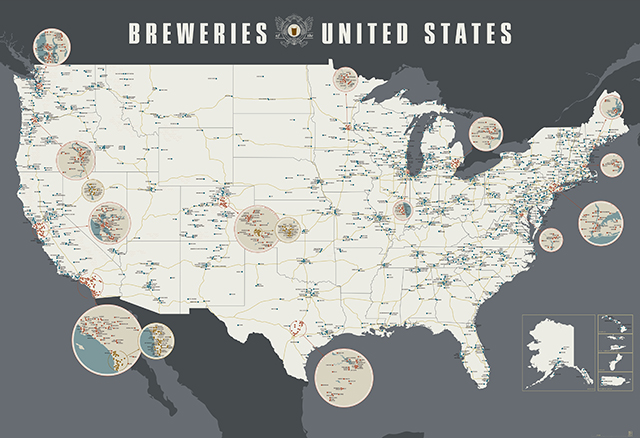 A Giant Redesigned Wall Map Featuring Over Breweries Across - Giant us map