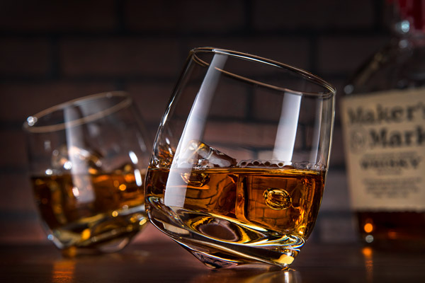 Wobbly Whiskey Glasses, Lowball Glasses With a Convex Bottom That Allow Them to Lean Without Spilling