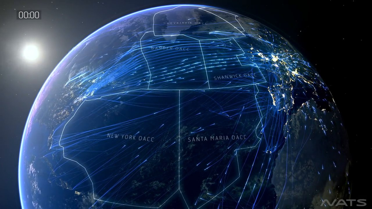 A Visualization of All the Airline Flights Operating Across the North Atlantic on a Typical Day