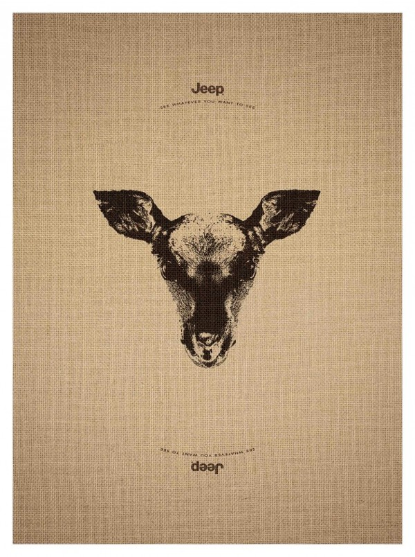 Jeep Ad Campaign Features Trick Animal Illustrations That Reveal a Second Animal When Flipped Upside Down