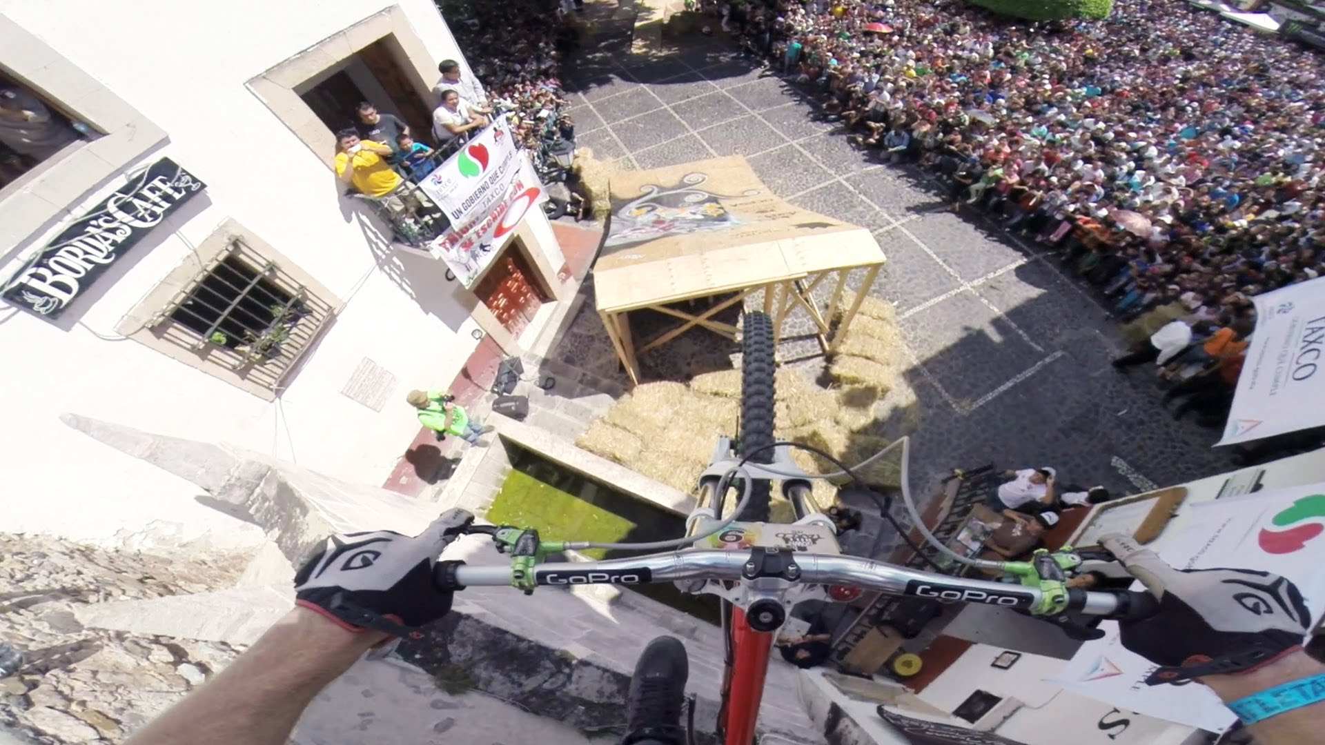 GoPro Video of a Mountain Biker Riding Over Staircases and Through Alleyways in Taxco, Mexico