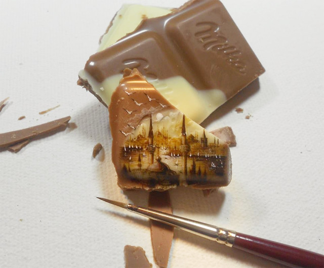 Turkish Artist Creates Micro Paintings of Istanbul on Small Pieces of Food