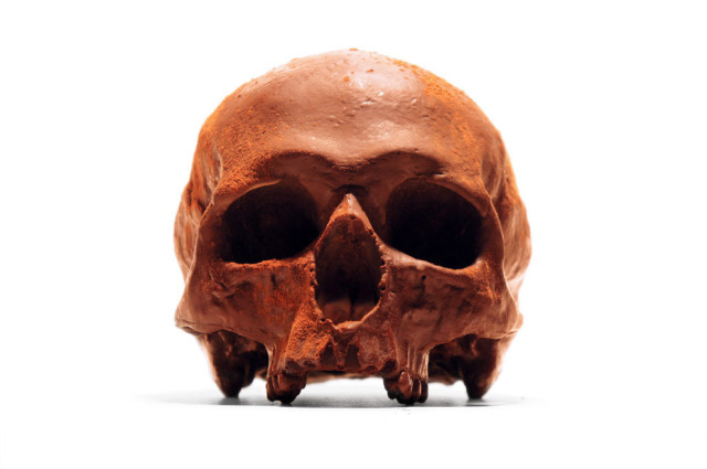 Life-Size Chocolate Replica of a Human Skull