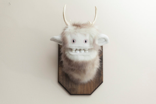 cute and creepy mounted stuffed monster heads. Black Bedroom Furniture Sets. Home Design Ideas