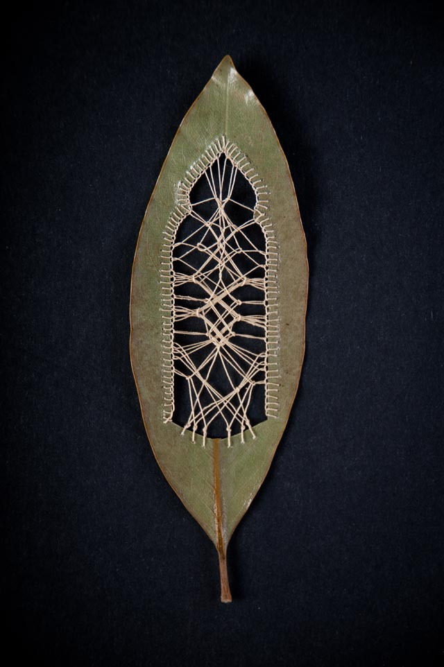 Beautifully Delicate Embroidered Leaves by Hillary Fayle