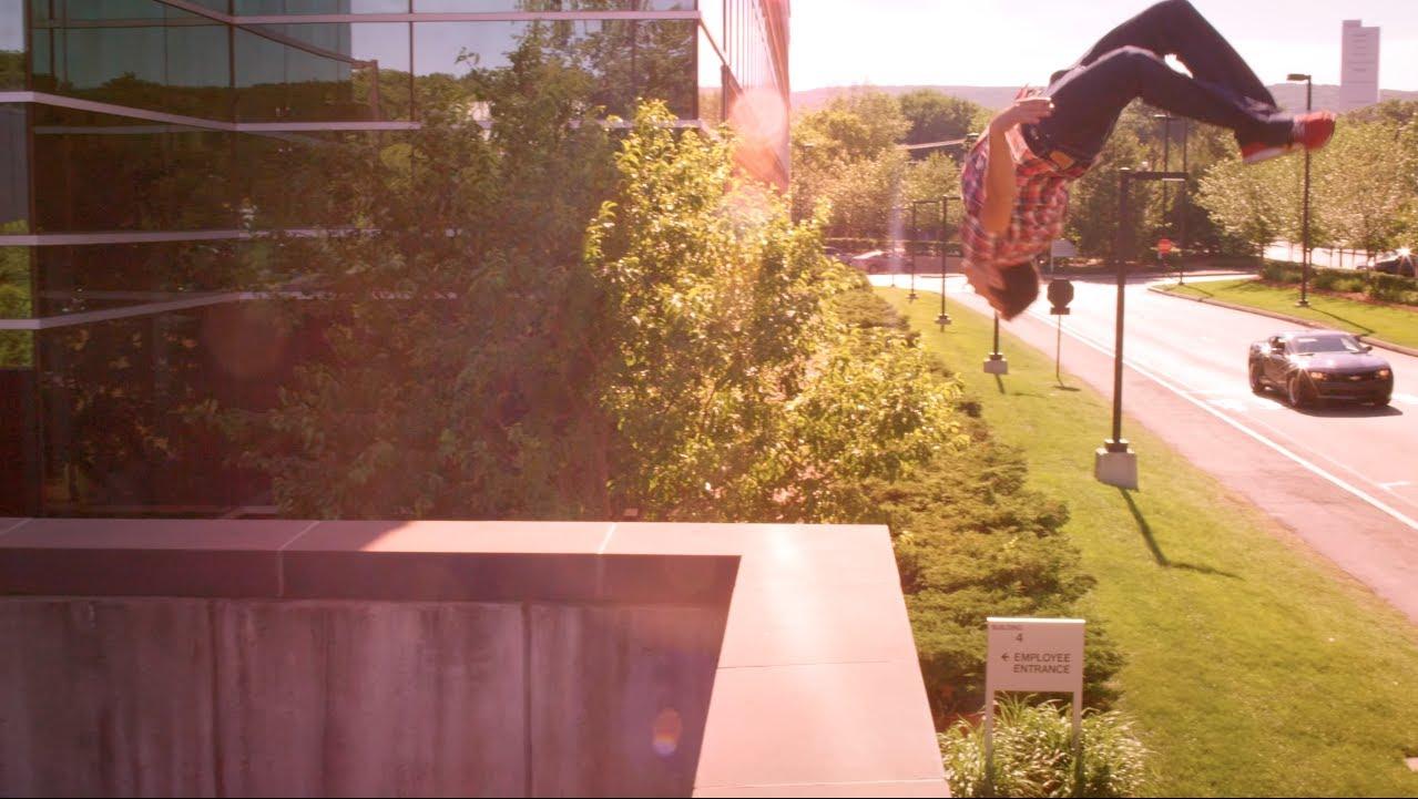 Stuntman Ronnie Shalvis Performs Parkour Stunts at ESPN's New Cutting-Edge 'SportsCenter' Studio in Connecticut
