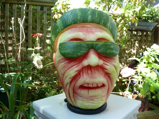Carved Watermelon Character Sculptures by Clive Cooper