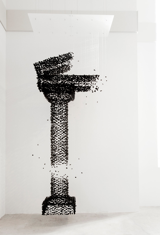Suspended charcoal sculptures by Seon Ghi Bahk