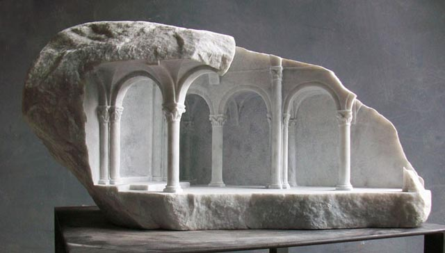 Ancient Architecture Miniatures Carved into Stone by Matthew Simmonds