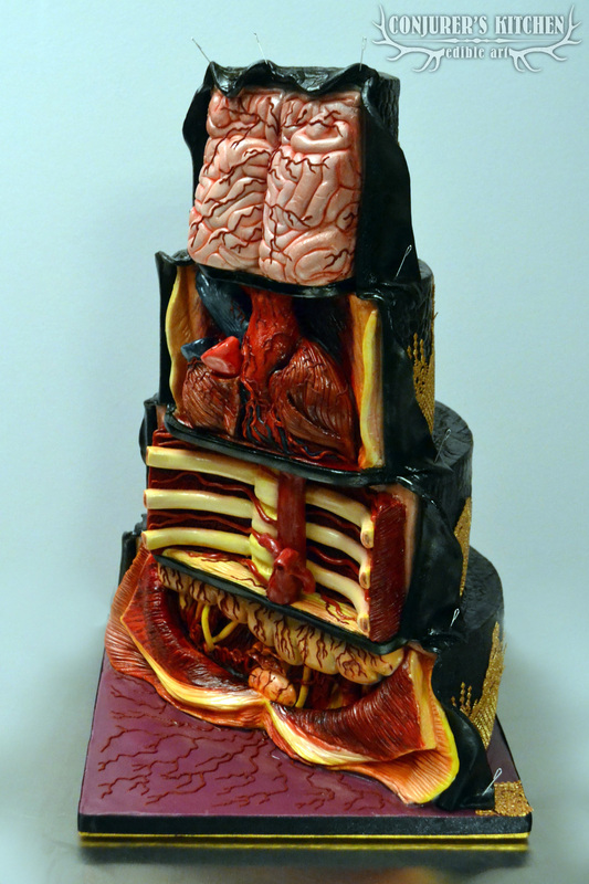 The Dissected Cake, A Cake With an Anatomical Interior of Bones and Organs