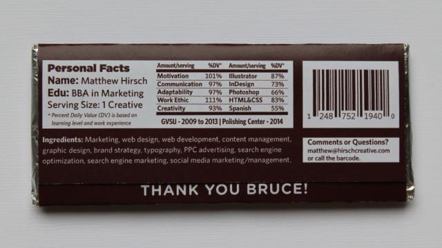 an ingenious chocolate bar resumé