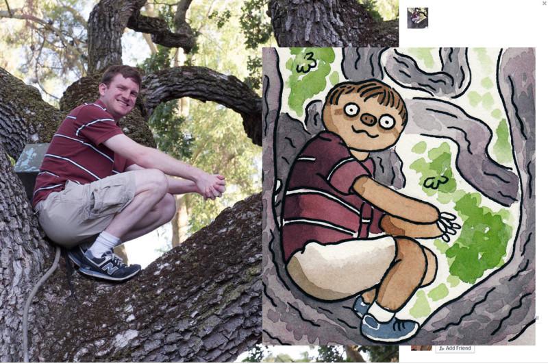 Paintings of Facebook Users as Sloths