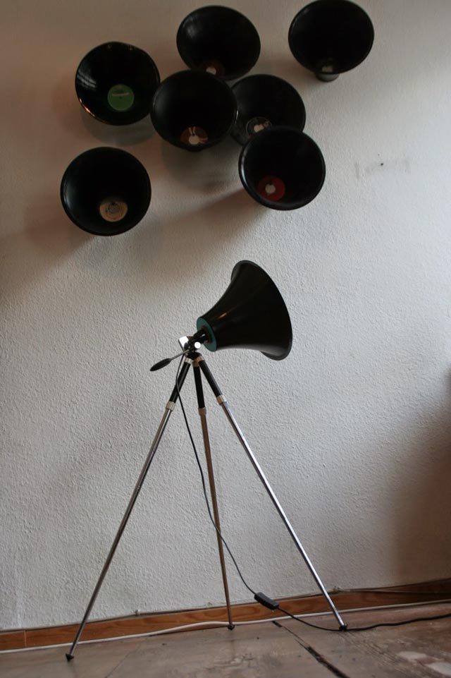Upcycled Vinyl Record and Camera Tripod Lamp