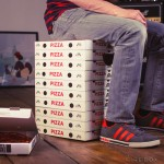 Cardboard Stools That Look Like Stacked Up Pizza Boxes, Books, Records and Beer