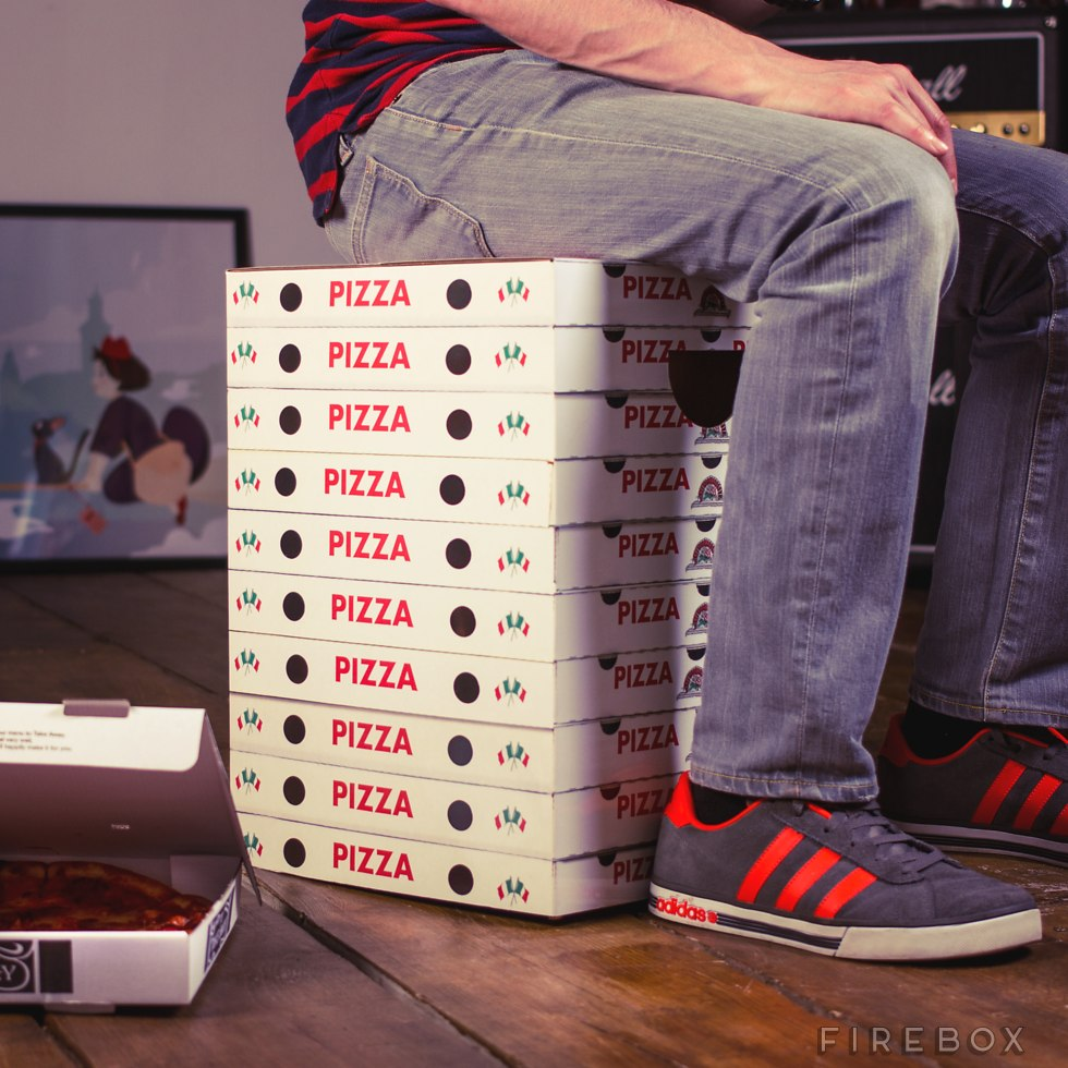 Cardboard Stools That Look Like Stacked Up Pizza Boxes