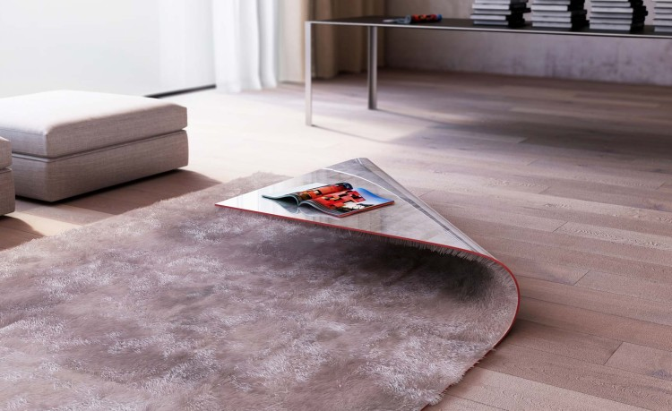 Stumble Upon, A Combination Rug and Coffee Table That Looks Like a Rug with a Folded Over Corner