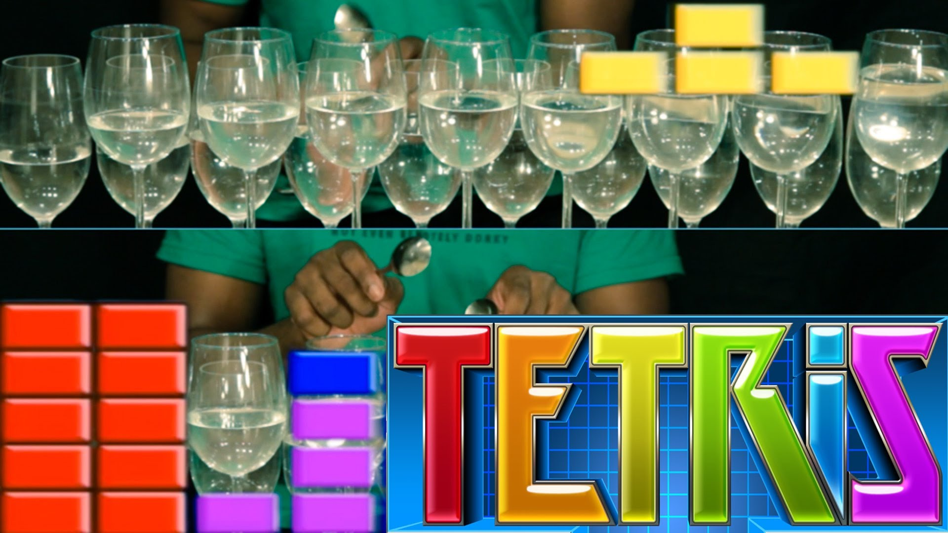 A Man Plays the 'Theme A' Song From the 'Tetris' Video Game Franchise on Wine Glasses