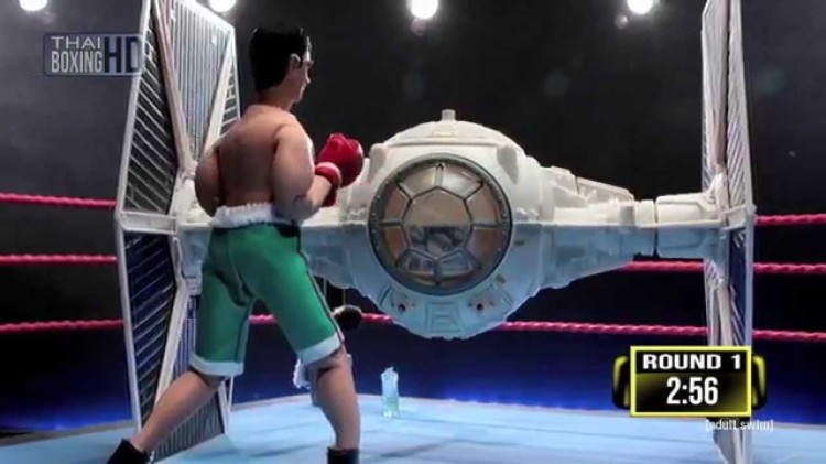 A Stop-Motion Animated Boxing Match Between a 'Star Wars' TIE Fighter and an Actual Thai Fighter by 'Robot Chicken'