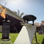 Backyard Golf Trick Shot Onto a Hot Dog-Dispensing Rube Goldberg-Style Machine