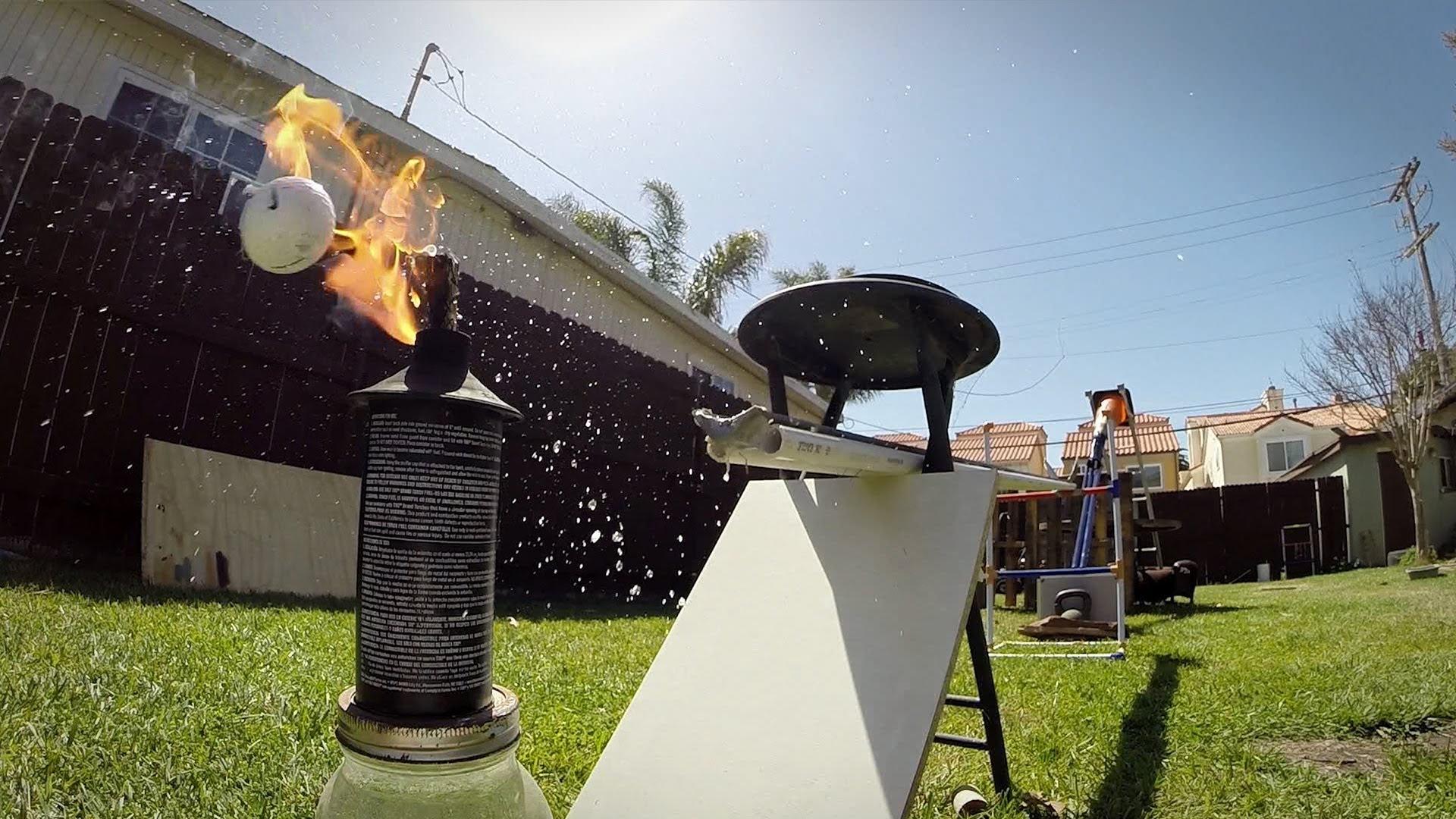 GoPro Video of a Backyard Golf Trick Shot Onto a Hot Dog-Dispensing Rube Goldberg-Style Machine
