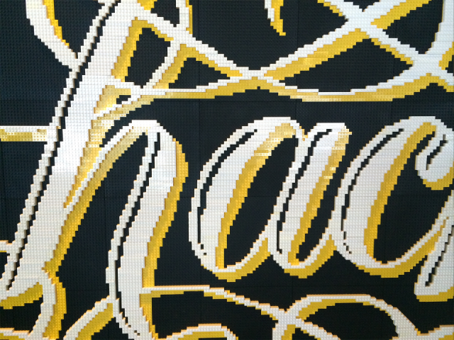 Hack LEGO Lettering Mural by Alice Lee