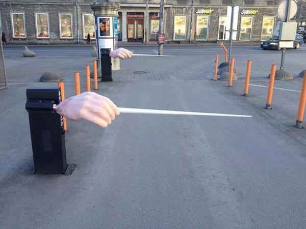 Whimsical Conductor's Baton Parking Gates at the Estonia Theater in Talinn