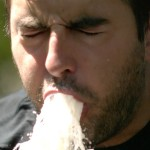 Super Slow Motion Video of a Man Vomiting Up Milk