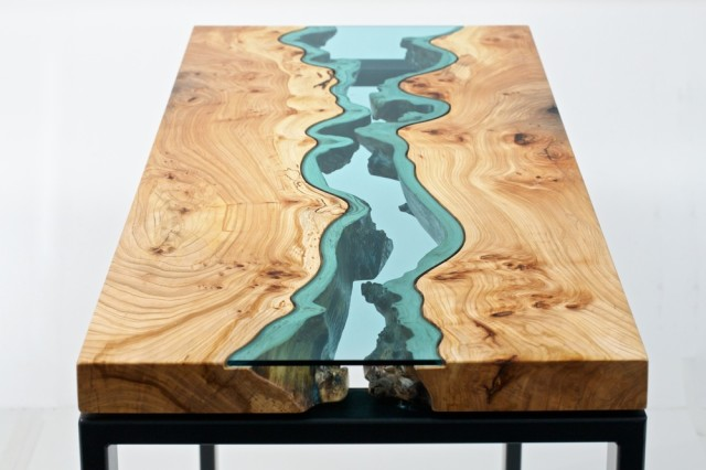 Beautiful Wooden Tables With Glass Inlays Inspired By The Rivers And Ponds  Of The Pacific Northwest