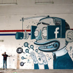 Like a Vision, A Cartoony Mural of a Man Hungering After Facebook Likes by Mister Thoms