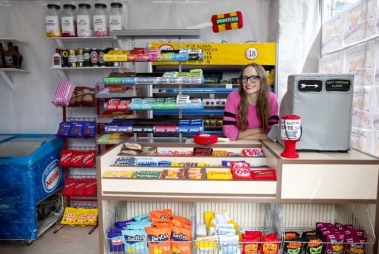 The Cornershop Felt Corner Store by Lucy Sparrow
