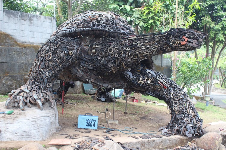 Giant Scrap Metal Turtle Sculpture by Indonesian Artist Ono Gaf
