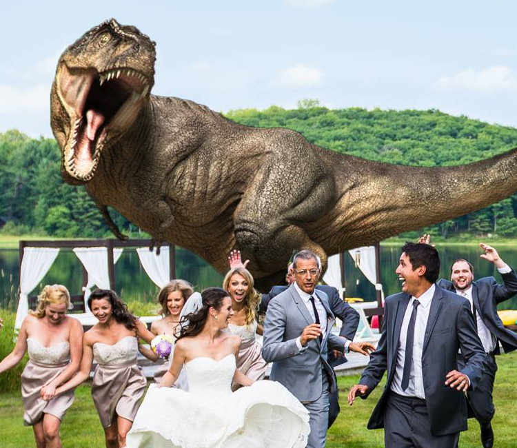 Jeff Goldblum T-Rex Wedding Photo