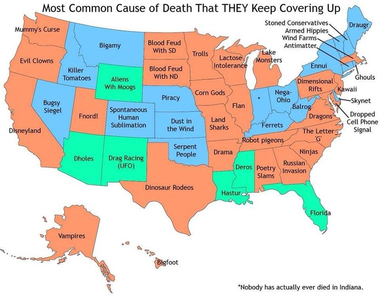 A Map of the Most Common Cause of Death by U.S. State That Keeps ...